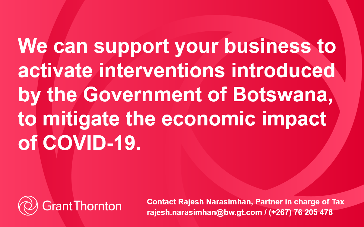 COVID-19 Botswana's economic response: We can support your business to activate interventions